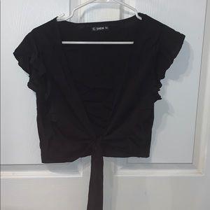 Black tie in front crop top